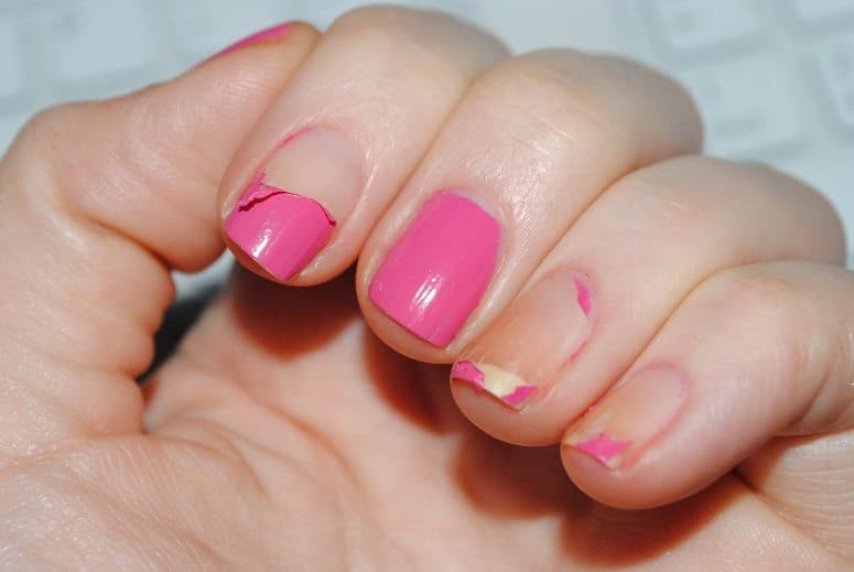 Stop peeling and picking at your nail polish if you want strong long nails.